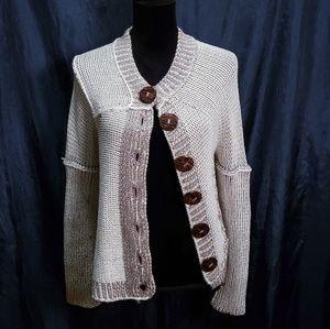 Sweaters - Hand Knitted Chunky Tan Cardigan Sweater
